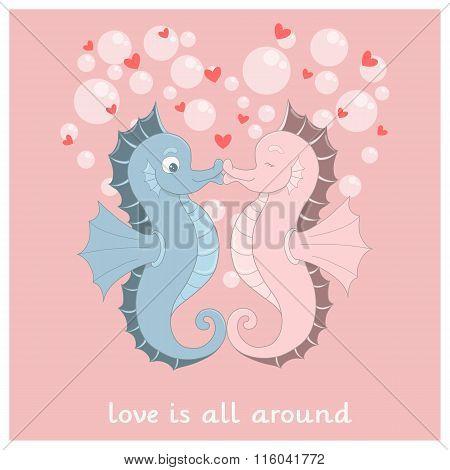 Vector Seahorses With Hearts