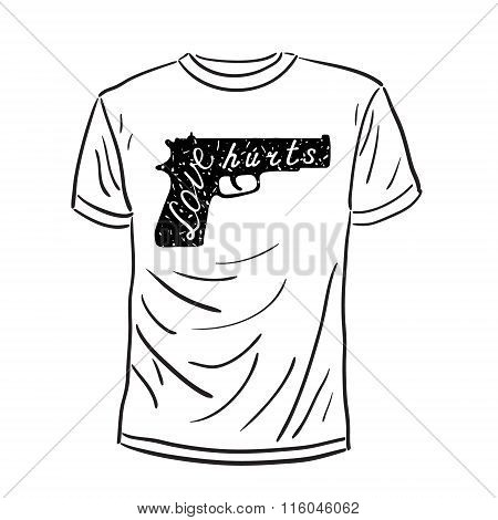 T-shirt with a gun illustration and a quote.