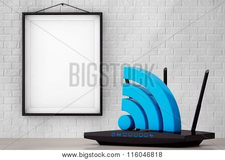 Modern Wifi Router With Wifi Sign In Front Of Brick Wall With Blank Frame