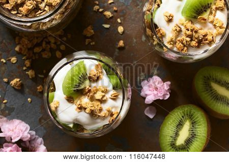 Yogurt Granola and Kiwi Parfait