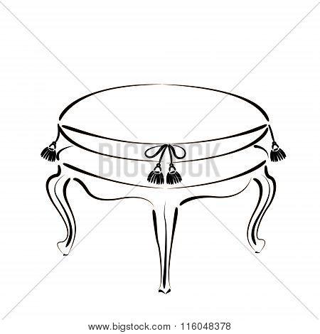 Elegant sketched stool banquette.