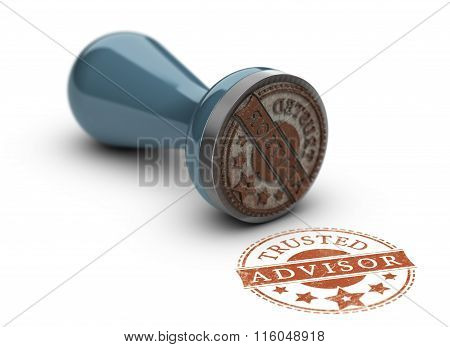 Trusted advisor rubber stamp over white background. Concept of trust in business. poster