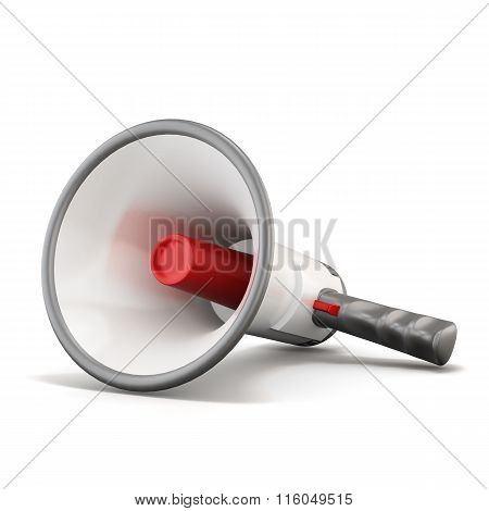 Hand megaphone lying on a white background. 3d rendering