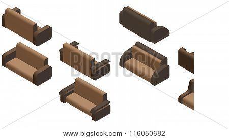 Set Of Four Sofas. Isometric.