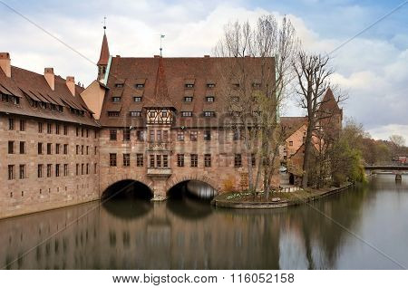 Nuremberg landmarks, reflected in water