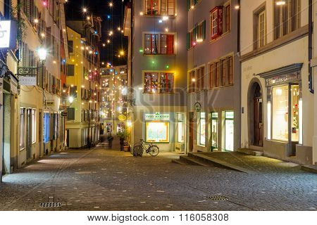 Street At Christmas, Zurich