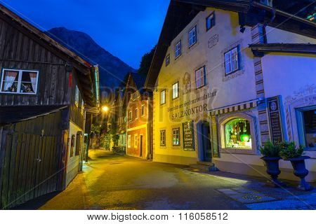 HALLSTATT, AUSTRIA - 20 JUNE 2014: Town square in Hallstatt, Austria. Hallstatt is historical village located in Austrian Alps at the Hallstatter lake and promoted by UNESCO World Heritage region.