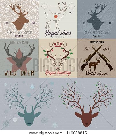 Collection of hunting the logo. Deer hunting Logo sign. Deer head logo.