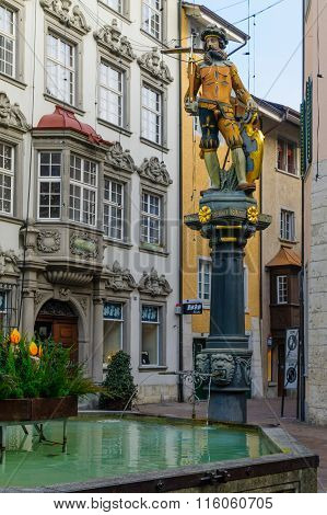 Wilhelm Tell Fountain In Schaffhausen