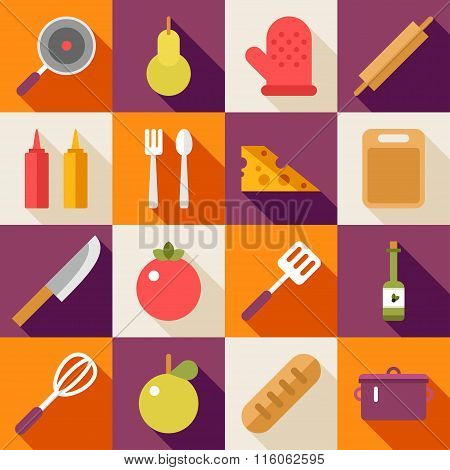 Set Of Vector Flat Style Food Icons With Long Shadow. Fruits, Vegetables, Souce, Cutlery