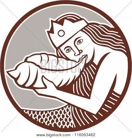 Mermaid Blowing Conch Shell Circle Retro