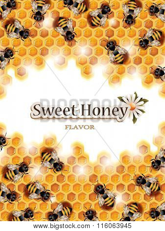 Vector Honey Background with Busy Bees Working on Honeycomb and Space for Text. No Blend is Used.