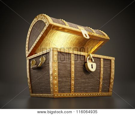 Glowing treasure chest full of treasures with open lid poster