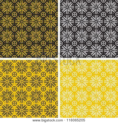 Set of colorful geometric pattern background.