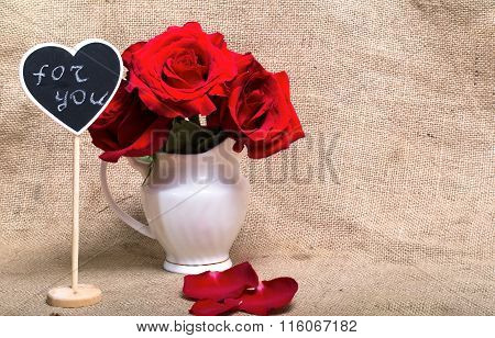 Red Roses And Mini-board With Text Of