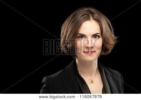 Pretty Model Corporate Headshot Black Background