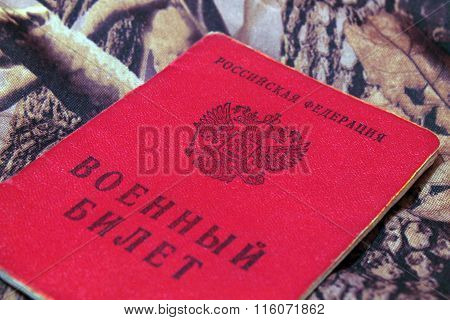military ticket of Russia on the camouflage