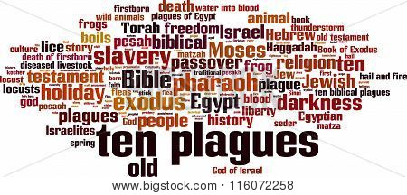 Ten plagues of Egypt word cloud concept. Vector illustration poster