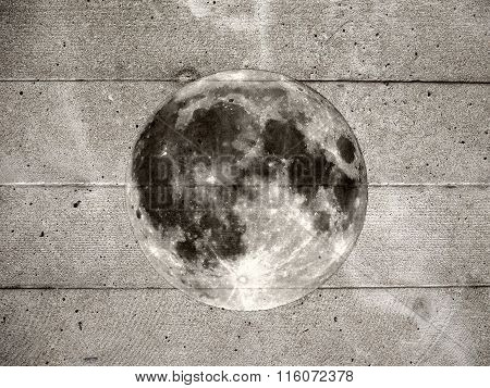 Grunge Full Moon On Wall