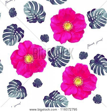 Seamless pattern of leaves monstera and bright pink flowers