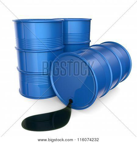 Blue oil barrels. 3D