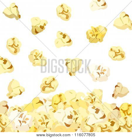 Popcorn falling isolated on white background. vector 10eps