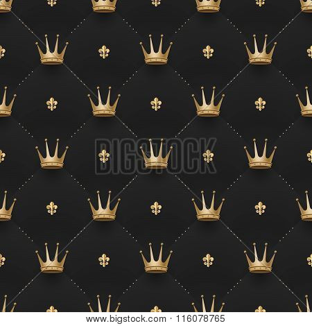 Seamless Gold Pattern With King Crowns And Fleur-de-lys On A Dark Black Background. Vector Illustrat