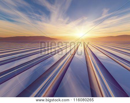 Grid Horizon Sunset