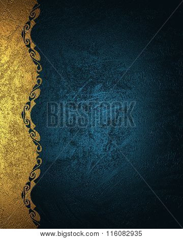 Blue Grunge Background With Gold Pattern. Element For Design. Template For Design. Copy Space For Ad