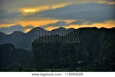 Peaceful View Of Vinales Valley At Sunrise. Aerial View Of The Vinales Valley In Cuba. Morning Twili