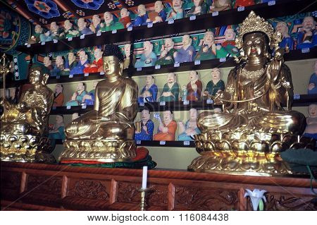 Buddhist Sculptures on an Altar