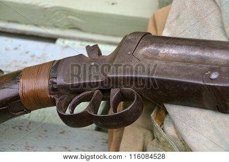 Triggers of an old double barrel .12 gauge shotgun