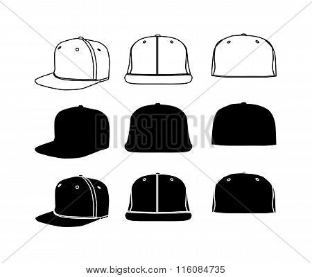 Rap cap with flat bill icon set
