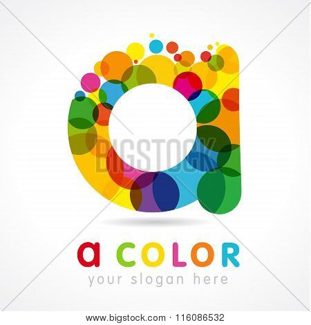 A letter logotype. A company template. Abstract stained glass colored luxurious emblem, drops, bubbles bunch. Branding entertaining or blockchain idea. Vector colour graphic isolated illustration.