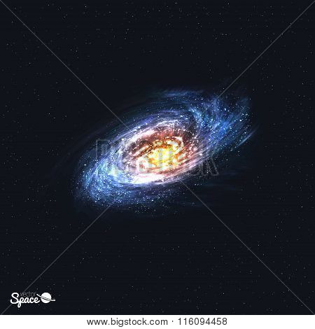 Colorful Realistic Spiral Galaxy on Space Background. Vector illustration.