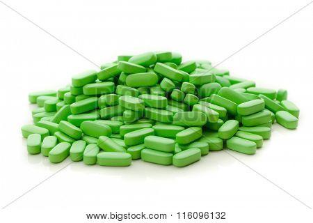 nutrition supplements, green vitamin pills poster