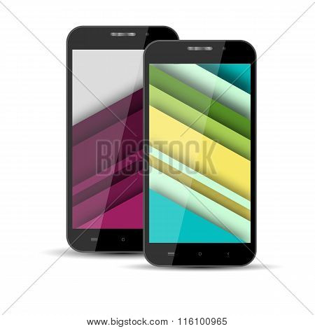 Realistic Models Of Mobile Phone With The Screen Saver On The Screen In The Style Of Materal Design.