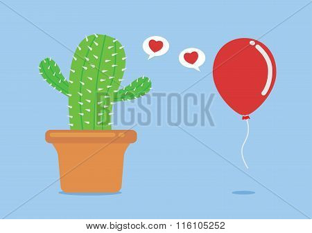 Cactus have foolish love with balloon