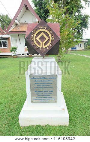 AYUTHAYA THAILAND-SEPTEMBER 6 : unesco label in ayuthaya