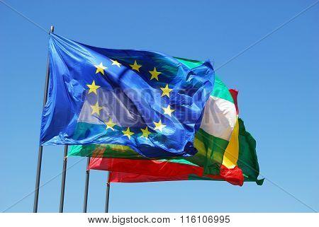 Spanish and European flags.