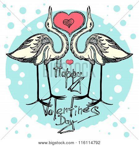 Card valentine's day. Love cranes of Valentine's day
