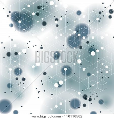 3d spatial lattice covering complicated op art background with smudge dots and geometric shapes.