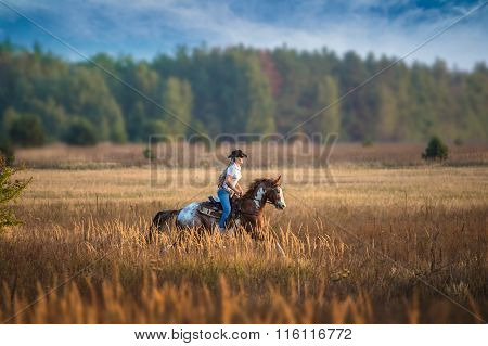 Girl Riding On The Red-and-white Appaloosa Horse