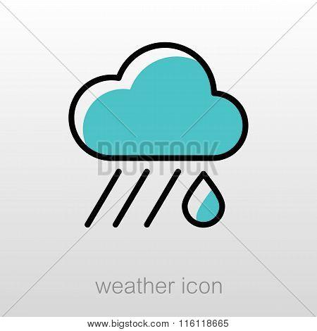 Rain Cloud Icon. Downpour, Rainfall. Weather