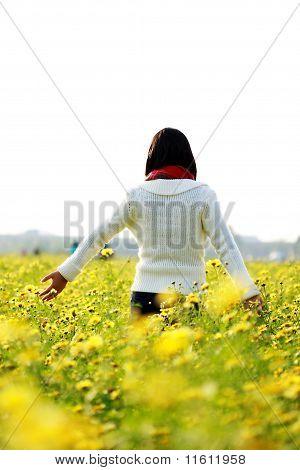 Girl on Yellow Flower Field