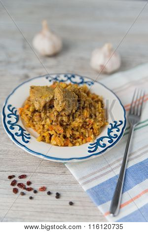 Plate Of Rice And Meat Dish Pilau