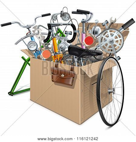 Vector Carton Box With Bicycle Spares
