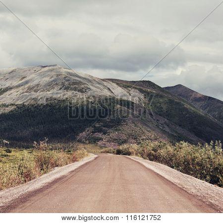 Road on polar tundra.Instagram filter.