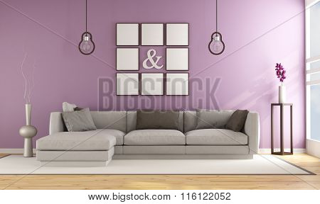 Contemporary Living Room With Lilla Wall