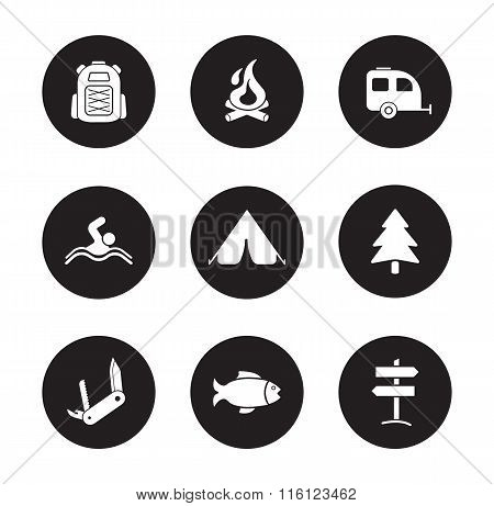 Camping and tourism black icons set